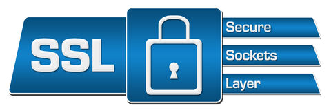 SSL Blue Rounded Squares Horizontal Stock Photography