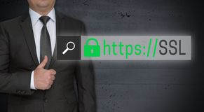 SSL browser concept and businessman with thumbs up.  royalty free stock photo