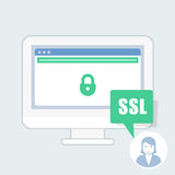 Ssl certificate notice - green address bar website Royalty Free Stock Image