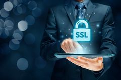 SSL concept. SSL Secure Sockets Layer concept - cryptographic protocols provide secured communications stock photo