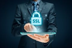 SSL concept. SSL Secure Sockets Layer concept - cryptographic protocols provide secured communications stock images
