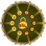 SSL - gold Security. Logo bookmark purchase SSL security Royalty Free Stock Image