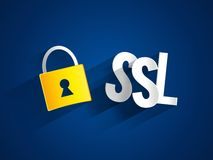 SSL and padlock. SSL letters and padlock illustration Royalty Free Stock Photo