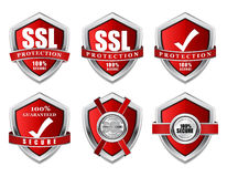 SSL Protection Secure Red Shield Vector Icon Stock Images