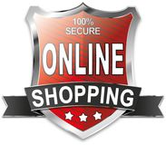 SSL 100% secure online shopping shield web icon badge. Modern shield web icon on white Backgroud Royalty Free Stock Images