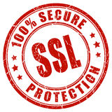 Ssl secure protection. Stamp on white background Stock Images