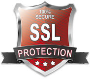 SSL 100% secure shield. Wen button Royalty Free Stock Image