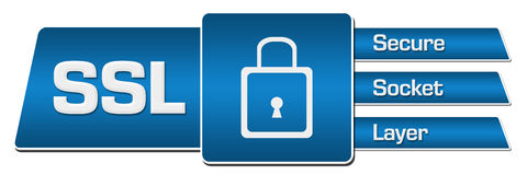 SSL- Secure Socket Layer Blue Rounded Squares Horizontal Stock Photos