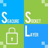 SSL - Secure Socket Layer Green Blue Four Squares Stock Photos