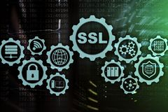 SSL Secure Sockets Layer concept. Cryptographic protocols provide secured communications. Server room background. SSL Secure Sockets Layer concept royalty free stock images