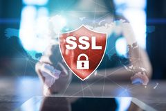 SSL Secure Sockets Layer, un protocollo di calcolo Sicurezza dei dati inviati via Internet usando crittografia fotografia stock