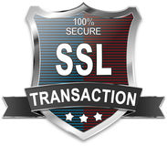 SSL 100% secure transaction shield. SSL 100% secure shield wen button Royalty Free Stock Photos