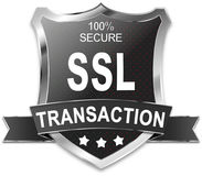 SSL 100% secure transaction shield. SSL 100% secure shield wen button Stock Photos