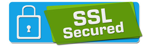 SSL Secured Green Blue Rotated Squares. SSL Secured text with related symbol written over green blue background Stock Photos