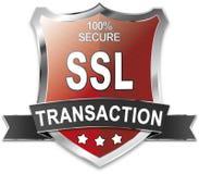 SSL 100% secure transaction shield. Ssl transaction shield illustration icon Royalty Free Stock Photo