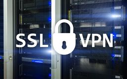 SSL VPN. Virtual private network. Encrypted connection.  Stock Image