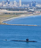 SSN Los Angeles Class Attack Submarine. A SSN Los Angeles Class Attack Submarine departing San Diego Harbor stock images