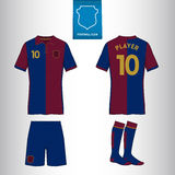 Ssoccer eller fotbollärmlös tröjamall för din fotbollklubba i retro stil Arkivbild