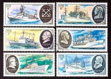 SSR - CIRCA 1979: een reeks zegels in de USSR worden gedrukt, toont onderzoekschepen, CIRCA 1979 die Royalty-vrije Stock Afbeeldingen