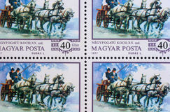 SStamp printed by Hungary, shows World champion Imre Abonyi, driving four-in-hand Royalty Free Stock Photos