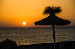 Ssunset with a sunshade Royalty Free Stock Photo