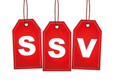 Ssv скидки красной этикетки продажи Стоковое Фото