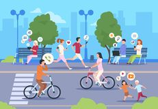 Städtische Straße des flachen Internets Stadt wifi Leute, die in Parkstadtlandschaftsmädchen- und -jungenlebensstil gehen Vektorm lizenzfreie abbildung
