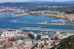 Städer av Gibraltar och La Linea Fotografering för Bildbyråer