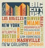 städer för Förenta staterna för design för typografiordcollage Royaltyfri Fotografi