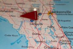 Städte auf einer Karten-Reihe - Gainesville, FL, USA Stockfoto
