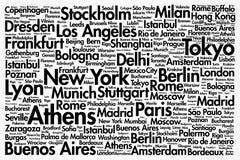 Städte in der Weltin verbindung stehenden Wortwolke Lizenzfreie Stockbilder