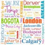 Städte in der Weltwort-Wolkencollage Lizenzfreie Stockbilder