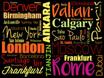 Städte in der Weltwort-Wolkencollage Lizenzfreies Stockfoto