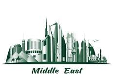 Städte und berühmte Gebäude im Mittlere Osten vektor abbildung