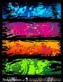 Städtische Art Grunge Fahnen mit Regenbogenfarben Stockbilder
