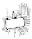 Städtische Collage mit einer Luke Stockfoto
