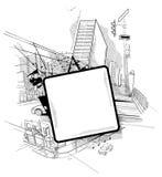Städtische Collage mit einer Luke Stockbilder