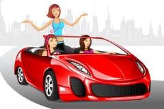 Städtische Dame im Auto Stockfoto