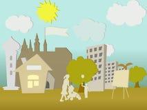Städtische Familienszene der einfachen Begriffsbildung Stockfoto