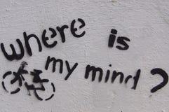 Städtische Graffiti - wo ist mein Verstand? Stockfotos