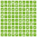 100 städtische Ikonen stellten Schmutzgrün ein lizenzfreie abbildung