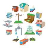 Städtische Infrastrukturikonen eingestellt, Karikaturart vektor abbildung