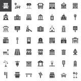 Städtische Infrastrukturvektorikonen eingestellt vektor abbildung
