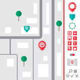 Städtische Karte mit den Zeigerikonen eingestellt Lizenzfreies Stockfoto