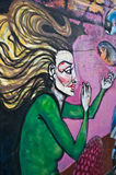 Städtische Kunst - alte Frau Stockbild