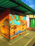 Städtische Kunst Schmetterling an Hand Lizenzfreies Stockbild