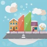 Städtische Landschaft des Winters Stockfotos