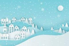 Städtische Landschaftslandschaft des Winters, Dorf mit nettem Papierhous stock abbildung
