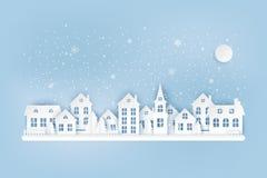 Städtische Landschaftslandschaft des Winters, Dorf mit netten Papierhäusern vektor abbildung