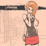 Städtische Mode. Stadt und Leute lizenzfreie abbildung
